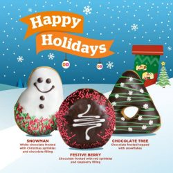 [Dunkin' Donuts Singapore] We're spreading festive cheer with:⛄️ Snowman (white chocolate frosted with Christmas sprinkles and chocolate filling)❤️ Festive Berry (chocolate frosted