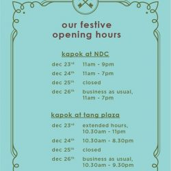 [Kapok Tools] our festive opening hourshappy holidays!