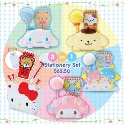 "[Sanrio Gift Gate] New in stationery set comes with a stationery holder, a fluffy ""pompom"" pen and a notepad 😊 We do provide free"