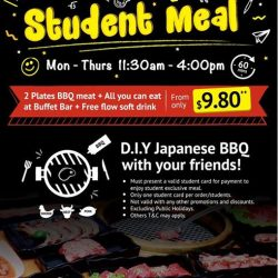 [Shaburi & Kintan Buffet] Monday-Thursday STUDENT PROMOTION MEAL👷‍♀️👷‍♂️👧👦 It's BBQ time with your Friends & Schoolmates from $9.