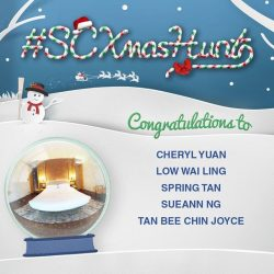 [Standard Chartered Bank & Priority Banking] Congratulations to our SCXmasHunt winners – Cheryl Yuan, Low Wai Ling, Spring Tan, SueAnn Ng and Tan Bee Chin Joyce.
