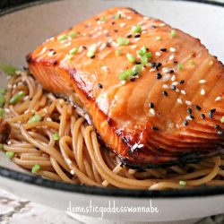 [THE SEAFOOD MARKET PLACE BY SONG FISH] Sesame noodles with grilled miso-glazed salmonMiso combined with fish works wonders.