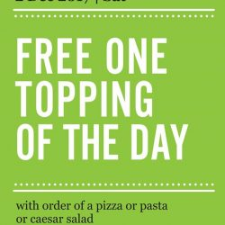 [Marché Mövenpick Singapore] Day 2 of surprise - 02 December 2017: FREE* one topping of the day with order of a pizza, pasta or