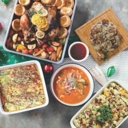 [The Soup Spoon] Peace Festive Set | This set debuts our Spinach Pumpkin Lasagna and Meatballs in Wild Mushroom Sauce for a surprise spin