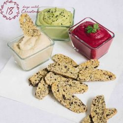 [Cedele] Worry-free munching on our Rosemary, Olive & Seeds Biscotti with these delicious Trio Christmas Hummus.
