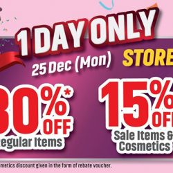 [BHG Singapore] Enjoy 30% off Regular Items and 15% off Sales Items & Cosmetics exclusively at BHG Jurong, TODAY ONLY!