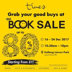 [Times bookstores] Don't miss The Book Sale at Kallang Leisure Park from 16 to 24 December 2017.