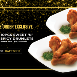 [Pizza Hut Singapore] Here's a little Xmas treat from us: enjoy 10pcs Sweet 'N' Spicy Drumlets at just $1!