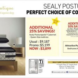"[Sealy Singapore] Enjoy an additional 10% savings on Posturepedic ""Enhance"" mattresses this weekend!"