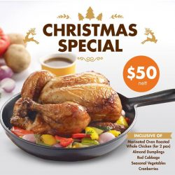 [Brotzeit German Bier Bar and Restaurant] This jolly season, what you cannot miss is our Delivery Special -- Marinated Oven Roasted Whole Chicken with tantalizing side dishes @ $