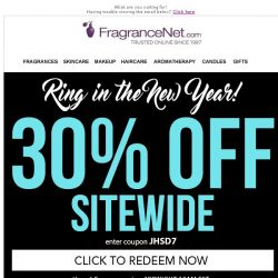 [FragranceNet] Get 30% off before the ball drops tonight!