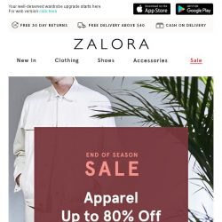 [Zalora] Up to 80% off our with our end of season SALE!