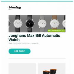 [Massdrop] Junghans Max Bill Automatic Watch, Kizer Ki4497 Wakulla Titanium Frame Lock Knife, Darn Tough Mens Steely Socks (2-Pack) and more...