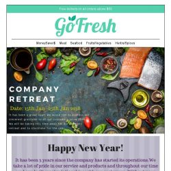 [GoFresh] GoFresh company retreat dates: 15th Jan -25th Jan. We are closed during these dates.