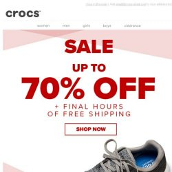 [Crocs Singapore] Ends tonight! 70% off & Free Shipping!