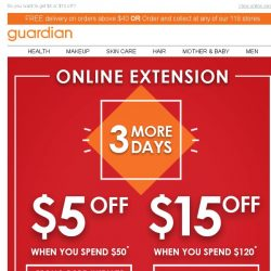 [Guardian] ⚠️ ONLINE EXTENSION! You get 3 more days to use your storewide promo code!