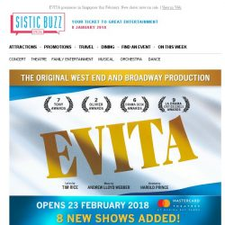 [SISTIC] EVITA premieres in Singapore this February. New shows now on sale.
