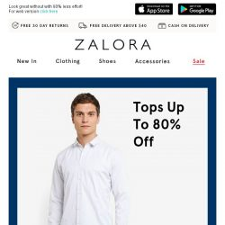 [Zalora] Smart spends: Tops up to 80% off!