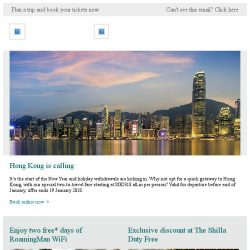 [Cathay Pacific Airways] Special January offer to Hong Kong from SGD318 all-in