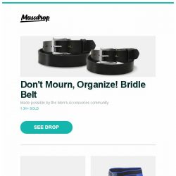 [Massdrop] Don't Mourn, Organize! Bridle Belt, Fällkniven A1Z Survival Knife (VG-10/Kraton/Zytel), Closeout: SAXX Kinetic Boxer Briefs & Tights and more...