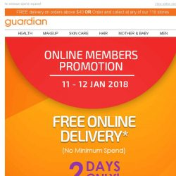 [Guardian] 🚚 FREE online delivery for 2 days! Time to get shopping.