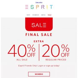[Esprit] Check out the HOT items added to SALE!