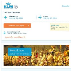 [KLM] Last seats to Lyon, book soon