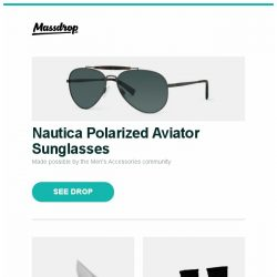 [Massdrop] Nautica Polarized Aviator Sunglasses, Kizer Ki3455A1 Mini Dorado M390 Flipper Knife, Massdrop x Fitsok Mountain Crew Socks (2-Pack) and more...