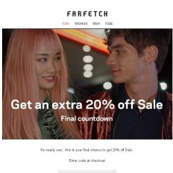 [Farfetch] 24-hour countdown Bargainqueen | Extra 20% off Sale