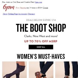 [6pm] The Boot Shop: Up to 70% off!