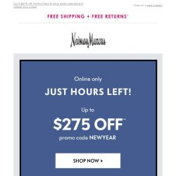 [Neiman Marcus] Get your $50 off: Only hours left!