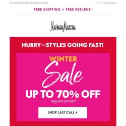 [Neiman Marcus] Hurry! 70% off Winter Sale ends soon...