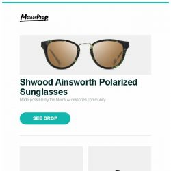 [Massdrop] Shwood Ainsworth Polarized Sunglasses, Spyderco Tenacious Carbon Fiber G-10 Folding Knife, Brunton 70P Dash Mount Compass and more...