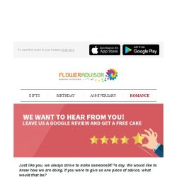 [Floweradvisor] Leave Us a Review and Get a Free Cake Every Month!