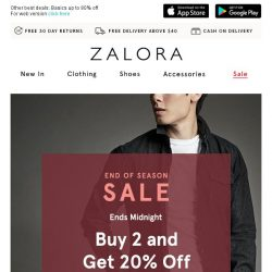 [Zalora] Last Chance: Buy 2 get EXTRA 20% off!