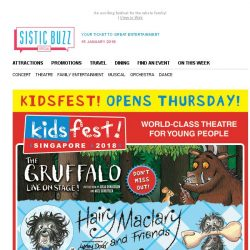 [SISTIC] KIDSFEST! 2018 Opens Thursday! BOOK NOW for The Gruffalo & more!