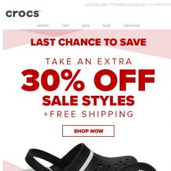 [Crocs Singapore] Last Chance to save 30% OFF & Free Shipping