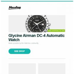 [Massdrop] Glycine Airman DC-4 Automatic Watch, Kizer Ki5464 Hustler Flipper Knife, Fällkniven S1BL Fixed Blade With Leather Sheath and more...