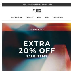 [Yoox] The Super Week continues! Additional 20% off a sale selection