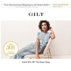 [Gilt] Extra 30% Off: The Dress Shop | Beach-Ready Swimwear Feat. Trina Turk, Classic Valentine's Day Gifts Feat. Adri and More Start Now
