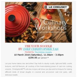 [LeCreuset] Le Creuset Singapore Culinary Workshop - BREADS AHEAD (10 Mar, Sat)
