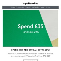 [MyVitamins] Save 65% PLUS an extra 20%!