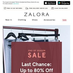 [Zalora] Up to 80% off sitewide - final reductions!