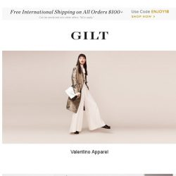 [Gilt] Valentino Apparel, Burberry Handbags & Shoes and More Start Now