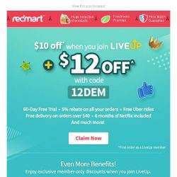 [Redmart] $12 OFF your first order + $10 OFF when you join LiveUp!