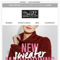 [Saks OFF 5th] Warm & Cozy: up to 80% OFF NEW markdowns