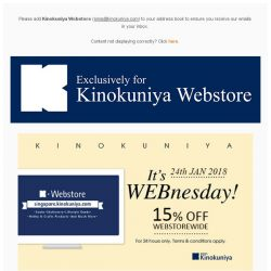 [Books Kinokuniya] It's WEBnesday! ⏰ For 24 hours only, enjoy 15% discount exclusively for Webstore purchases!