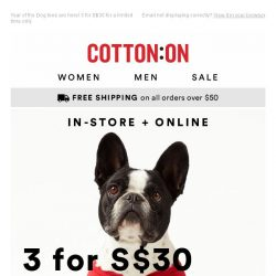 [Cotton On] It's paw-ty time 🎉 3 for S$30 graphic tees!