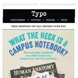 [typo] 2 for $12 Notebooks, Campus tour.