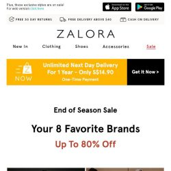 [Zalora] Here's up to 80% off your top 8 brands!